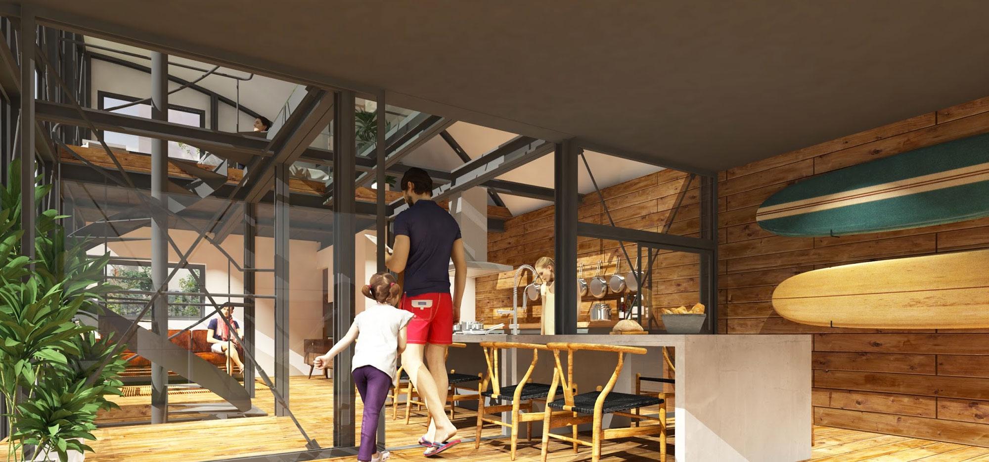 ルーフデッキ空間から室内の吹き抜け空間を望んだアングル。キッチン背面の壁が、外部まで伸びてくるところがミッドセンチュリーデザインの作法。クールな外観にコントラストを添える木質系など、室内には素材感の豊かな材料を使いたいところです。このフロアプランなら雨の日でも食事ができるルーフデッキから、吹き抜けを経由して3階の子供部屋の気配を感じることも出来てしまいます。これこそ一体空間の魅力です。